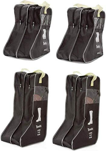 LINPOZONE 2 paquetes portátiles de 47 cm, 2 paquetes de 29 cm, botas altas de almacenamiento cortas/bolsa protectora, funda para botas (negro, M x2 unidades/L x2 unidades)