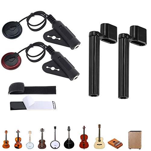 Binjor 4Pcs Pickup de Guitarra Transducto Micrófono Pickup Pastillas Fonocaptoras para Instrumentos Cuerda Devanadera Cuerda de Guitarra puente Pin herramienta removedo