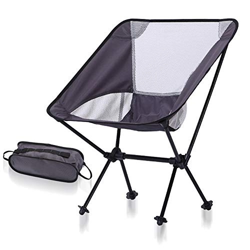 RANGE Outdoor Portable Beach Camping Compact Backpacking Sedia Pieghevole Portatile con Borsa for Pesca Escursionismo Picnic Garden, Super Comfort per Adulti (Color : Gray+White Net)