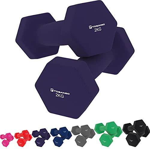 Tosaneo 2er Set Hanteln Neopren Kurzhanteln Gewichte für Gymnastik Aerobic Fitness Hantelset 2X 1,0kg bis 5,0kg Hantel 2X 2,0kg Purple