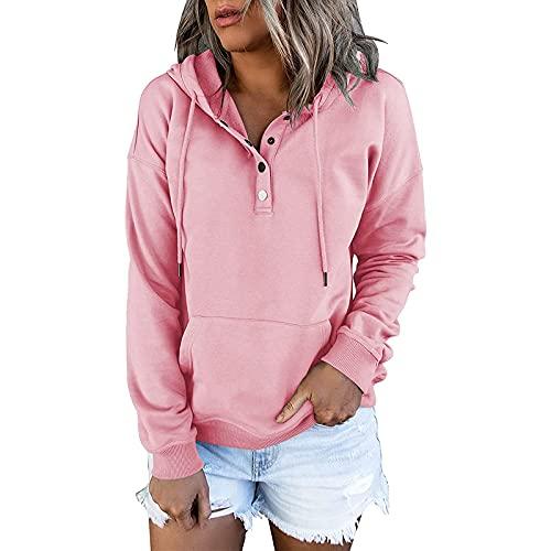 WangsCanis Blusa de manga larga con capucha para mujer, con cremallera, sudadera con bolsillos, camiseta con cordón, tallas grandes, top con capucha y cremallera, Rosa, L