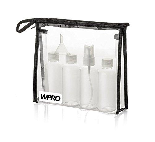 WPRO Kulturbeutel transparent, 1 Liter Volumen & 3 Reiseflaschen, 1 Pumpspender je 80ml + 1 Trichter zum Transport von Flüssigkeiten im Handgepäck
