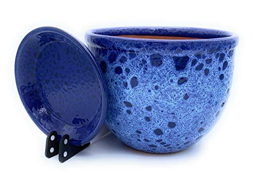 Sun Cakes Blumentopf aus glasierter Keramik, mit Untersetzer, für Sukkulenten / Orchideen, Meeresschaum, keramik, blau, 16cm x 12cm