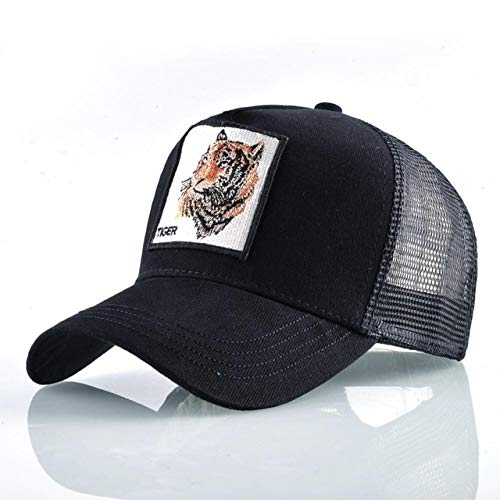 Gorras de béisbol de Moda Hombres Mujeres Snapback Hip Hop Sombrero Verano Malla Transpirable Sun Gorras Unisex Streetwear-Black Tiger