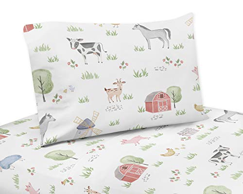 Sweet Jojo Designs Farm Animals Twin Sheet Set - 3 Piece Set - Watercolor Farmhouse Horse Cow Sheep Pig