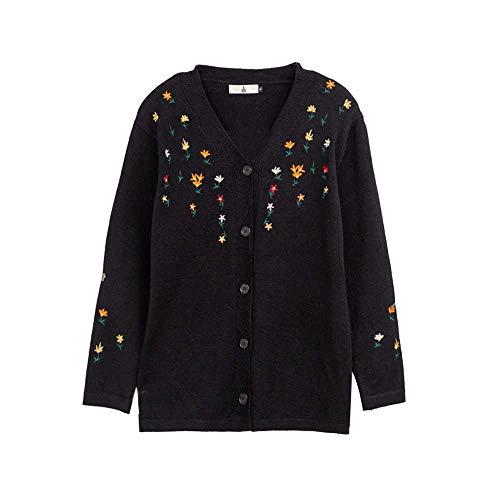 YANGPANGZI Herbst Plus Size Damen Bluse bestickte Blumen Strickjacke Pullover