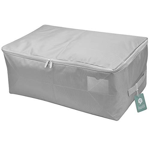 Organizer-Aufbewahrungstasche für weiche Kleider, Aufbewahrungsbehälter für Steppdecken, Steppdecken, Decken. Staubdicht, feuchtigkeitsbeständig mit dreiseitigem Reißverschluss, hellgrau