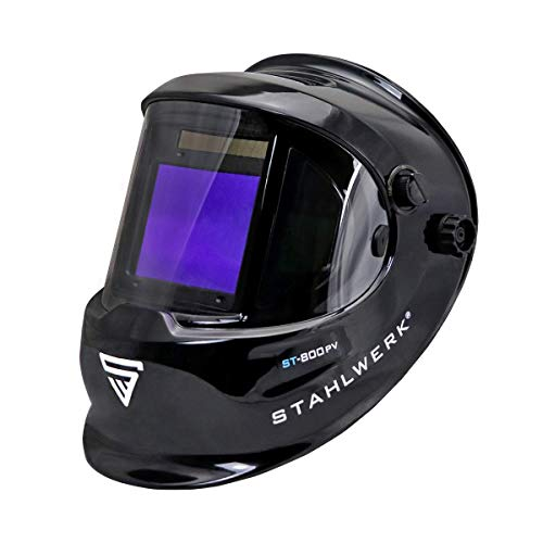 STAHLWERK ST-800PV Vollautomatik Schweißhelm Schweißermaske Optische Klasse 1/1/1/1 mit großem Sichtfeld inklusive 2 Ersatzscheiben, REAL-Colour, 7 Jahre Garantie auf Filter
