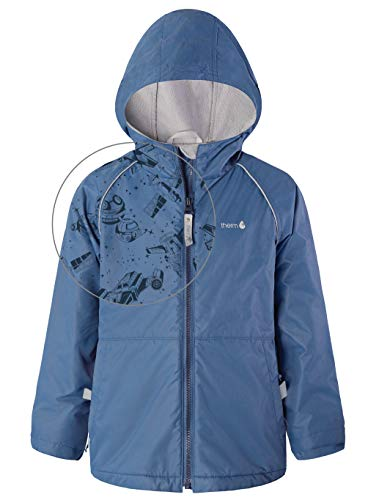 Therm Boys Rain Jacket - Lined Kids Raincoat w Magic Pattern - Lightweight Coat (Oxford Blue, 4T)