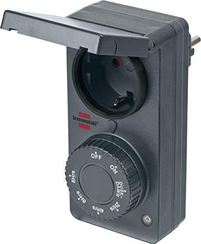 Brennenstuhl Zeitschaltuhr mit Dämmerungssensor DDT IP44 (Zeitschaltuhr mit Dämmerungsfunktion und 6 Schaltprogrammen, für den Außenbereich geeignet, mit erhöhtem Berührungsschutz)