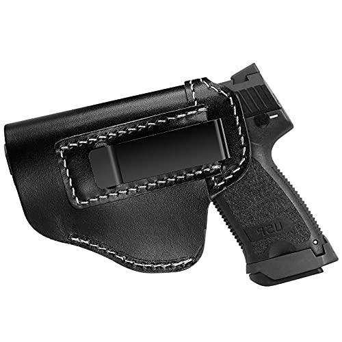 Procase Funda de Pistola IWB, Funda de Cuero para Cinturón, Cartucheras Pistolas Interior Suave Muy Resistente -Diestra