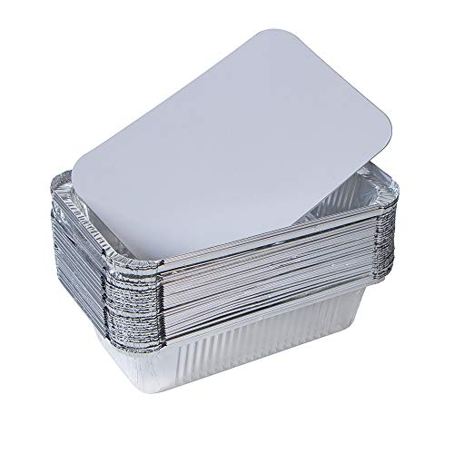 Webake Large Aluminum Foil Tin Pans 9 x 5 inch Disposable Aluminum Foil Take-out Containers 3 Lb Foil Bread Pan Loaf Pans Baking Pans For Cake Toast - Pack of 30 With 12 Lids