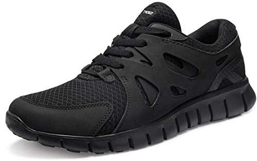 TSLA Men's Sports Running Shoes, Lightweight Breathable Walking Casual Sneakers, Performance Gym Training Athletic Shoes, Flex Mesh(x702) - Blackout, 13