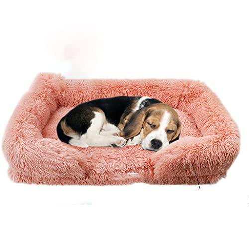 SHENGYAO Cama para Perros y Gatos, colchón ortopédico de Felpa Mullido para Perros, cojín para Mascotas para Dormir Mejorado, Estera Suave y cómoda, sofá Cama para Mascotas,Pink-75cm