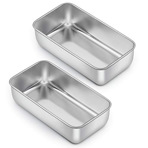 Loaf Pan for Baking Bread, E-far 9 x 5 Inch Stainless Steel Baking Loaf Pans, Metal Bakeware for Bread Meatloaf Cake Brownies, Healthy & Non Toxic, Easy Release & Dishwasher Safe - Set of 2