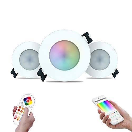 iHomma Intelligente Faretti LED Incasso IP65,Controllo Remoto di Bluetooth APP,Telecomando,Dimmerabile,Bianco Freddo Caldo RGBMulticolore, Faretto Fixture da Incasso per Bagno Soggiorno 6W,350LM,3Pack