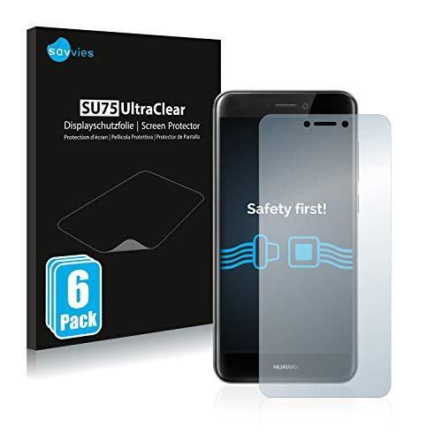 savvies 6-Pezzi Pellicola Protettiva Compatibile con Huawei P8 Lite 2017 Protezione Schermo Trasparente