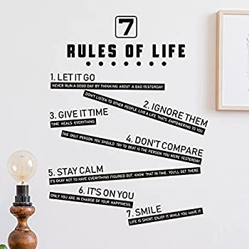 7 Rules of Life Inspirational Wall Decals 5 Kitchen Rules Wall Sticker Decor Inspirational Wall Quote Decals Home Mural Decor Vinyl Wall Art Decals for Bedroom Kitchen Home Office  Kitchen Style