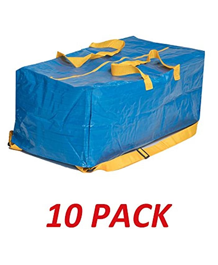 Klickpick Home Heavy Duty Reusable Extra Large Storage Bags -Pack of 10, Laundry Bag Shopping Moving Totes Bags Underbed Storage Bins Zipper -Backpack Handles,Compatible with IKEA FRAKTA CART- Blue