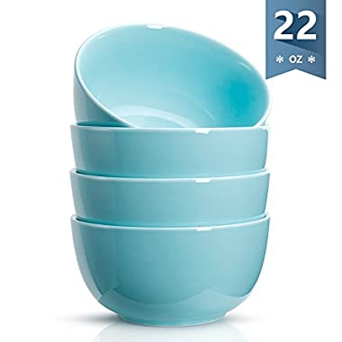 Sweese 1133 Porcelain Bowls - 22 Ounce for Cereal, Soup, Rice, Salad - Set of 4, Turquoise