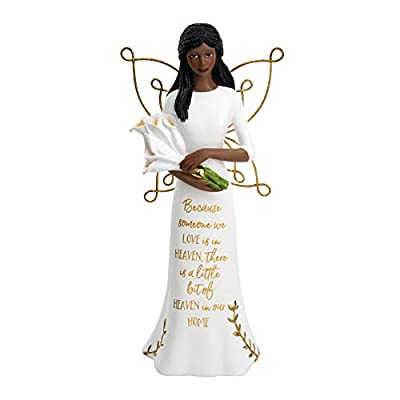 Pavilion Gift Company Pavilion - Because Someone We Love is in Heaven - 7.5 Inch Collectible in Memory Ebony Angel Figurine, White