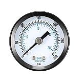 Manómetro de montaje trasero, escala dual de 0-300 psi/kpa, pantalla de dial de 1-25/64', macho BSPT de 1/8', con partes internas de latón para compresor de aire, agua, aceite, gas