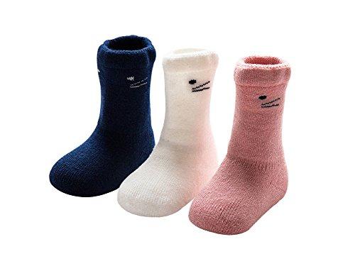 DEBAIJIA DEBAIJIA Baby Tube Socken Dicke Warm Neugeborene Baumwolle Söckchen Set 3er Pack Katze Motiv für Mädchen - XS(0-6 Monate)