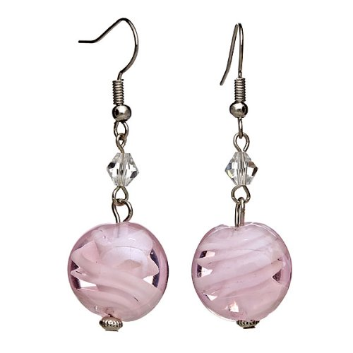 Lova Jewelry Pastel Pink Hand-Blown Venetian Murano Glass Beaded Drop Earrings
