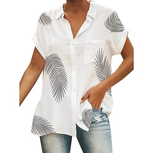 Berimaterry Damen Kurzarm Sommershirt Casual Print Strand Tunika Bluse Shirts Große Größen Revers Knopf Sommer Hemd Kurzärmliges Oberteil