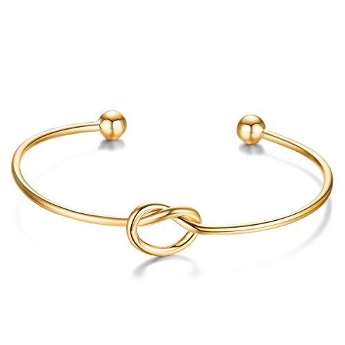 SHEGRACE Frauen Offen Geknotet Armband in 925 Sterling Silber Platin, Rose Gold, Gold überzogenes Armband, 172 mm, Einstellbarer