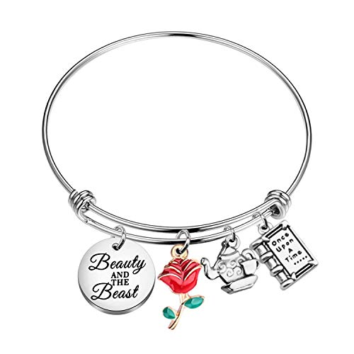 Beauty And The Beast Bracelet Beauty And the Beast Belle Gifts Red Rose Jewelry Bracelets for Girls Teens (Beauty and the beast UK)
