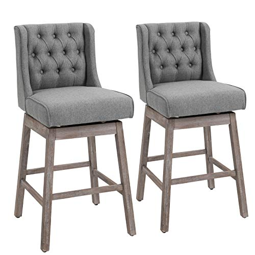 HOMCOM Set of 2 Barstools, 180 Degree Swivel Kitchen Island Stool Dining Room Chairs with Solid Wood Footrests and Button Tufted Design, Grey