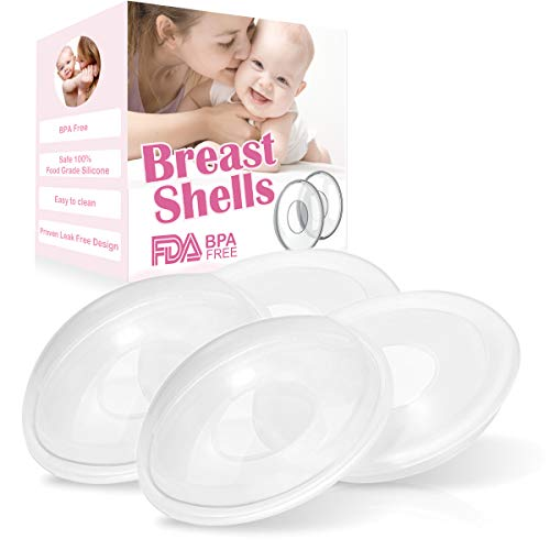 Breast Shells Milk Saver for Breastfeeding, 4 Pack BPA Free Breast Shield Nursing Cups Protect Sore Nipples Breast Milk Collection Shells