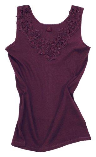 Damen Shirt, Unterhemd Gekämmte Baumwolle mit extra großer Spitze Ohne Seitennaht (40/42, Bordeaux)