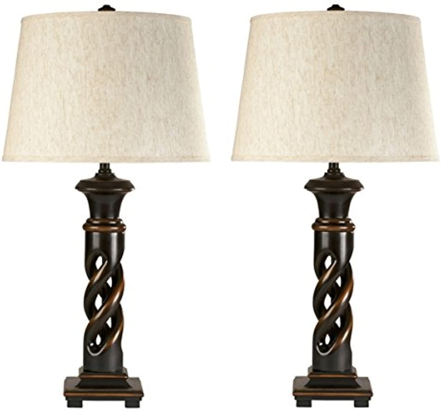 Ashley Furniture Signature Design - Fallon Table Lamp - Classic French Turned Wood Design - Set of 2 - Black