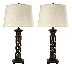 Ashley L235334 Fallon Table Lamp in Turned wood design, Black, 2-Pack