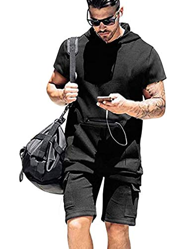 COOFANDY Mens Workout Set Active Muscle Short Sleeves Shirt and Squatting Short