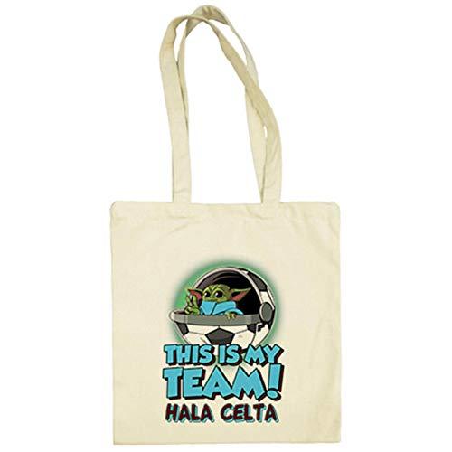 Diver Bebé Bolsa de tela parodia baby Yoda mi equipo de fútbol Hala Celta - Beige, 38 x 42 cm