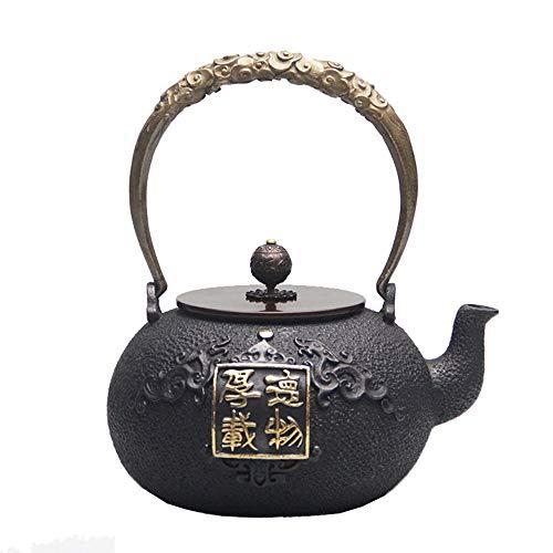 Tetera Japonesa Tetera de hierro, hierro fundido tetera Handiwork del pote del té, hoja de metal fundido Hierro Tetera vieja Tetera de hierro fundido hecha a mano japonesa de la tetera Tetera Retro