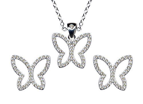 Juego de joyas de plata de ley 925 con diseño de mariposa, pendientes + cadena + colgante, cadena de plata, colgante de plata, pendientes con circonitas, color blanco claro