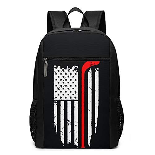 GgDupp Hockey American Flag Schulranzen Reiserucksack 17 Zoll Laptop Tasche, Polyester, Schwarz, Einheitsgröße