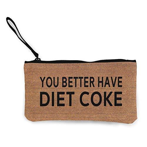 Gpedadf13 Unisex Mögen Sie Besser Diät Cola Reißverschluss Leinwand Geldbörse Geldbörse, Schminktasche, Handytasche mit Griff haben