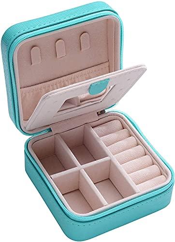 Joyero organizador pequeño para viajes, caja de almacenamiento de joyas exquisita, para mujer, ligera, miniestuche organizador de joyas con espejo para anillo, pendientes, collar, caja de regalo (B