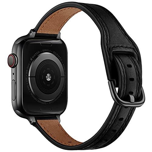 AISPORTS Compatible con Apple Watch Correa de piel de 44 mm y 42 mm para mujeres y niñas, correa de repuesto para Apple Watch SE/iWatch Series 6/5/4/3/2/1