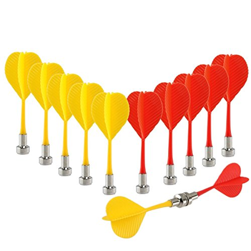Yalis Magnetic Darts 12 Packs, Replacement Dart Game Safety Plastic Darts, Red and Yellow