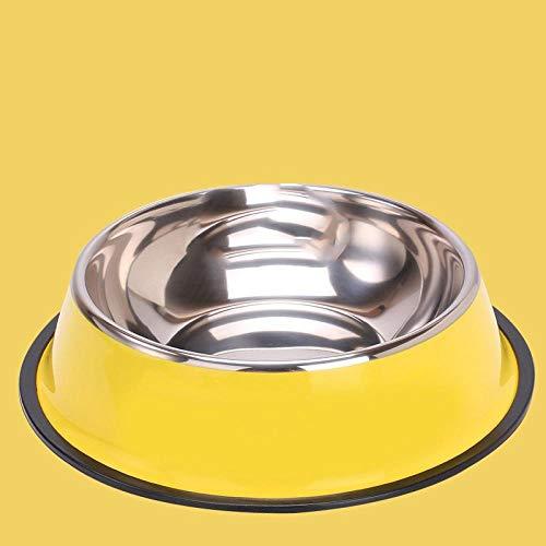 ZZX Katzentopf Katzenschale Edelstahl Kippschutzschale zum Schutz der Halswirbelsäule-Gelb ohne Aufdruck_22cm Boden der M-Schale (innerhalb von 25 kg)