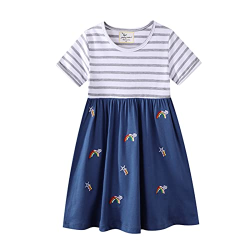 LOKKSI Vestidos de princesa con rayas de fresa, vestido de manga corta, cuello redondo, casual, vestido de fiesta, vestidos para nios de 2 a 7 aos