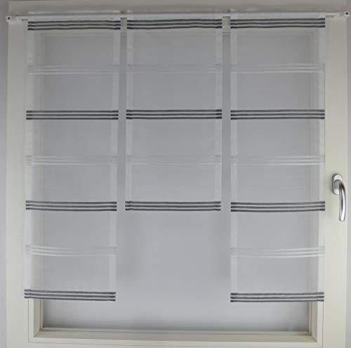 Gardinen Röttger Miniflächen-Set Organza anthrazit gestreift Scheibengardine