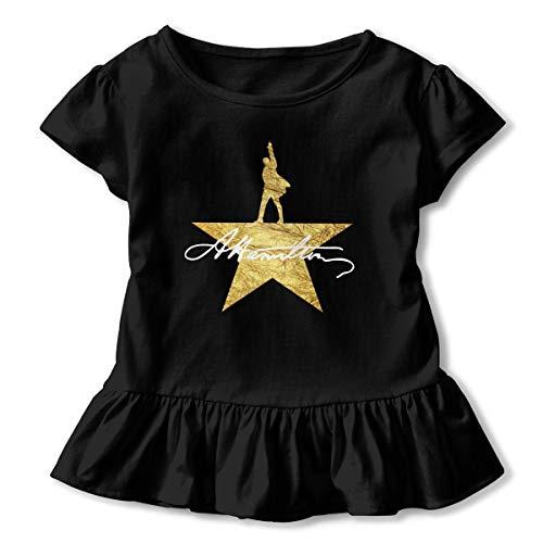Tifus Dress Hamilton The Musical Toddler Girls' Short-Sleeve Shirts Ruffled T-Shirt Cotton Ruffle Skirt Black