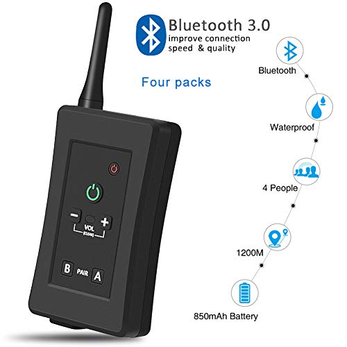 CAPTIANKN FBIM Referee Bluetooth Walkie-Talkie Headset, 1200M 4 People Can Talk at The Same Time Can Wear Handheld Bluetooth Walkie-Talkie,Four